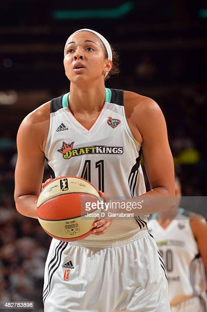 Kiah Stokes of the New York Liberty shoots a free throw against the Seattle Storm on August 2 2015 at Madison Square Garden in New York City NY NOTE...