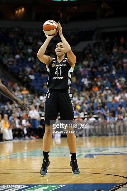 Kiah Stokes of the New York Liberty shoots a free throw during the game against the Minnesota Lynx during the WNBA game on June 29 2016 at Target...