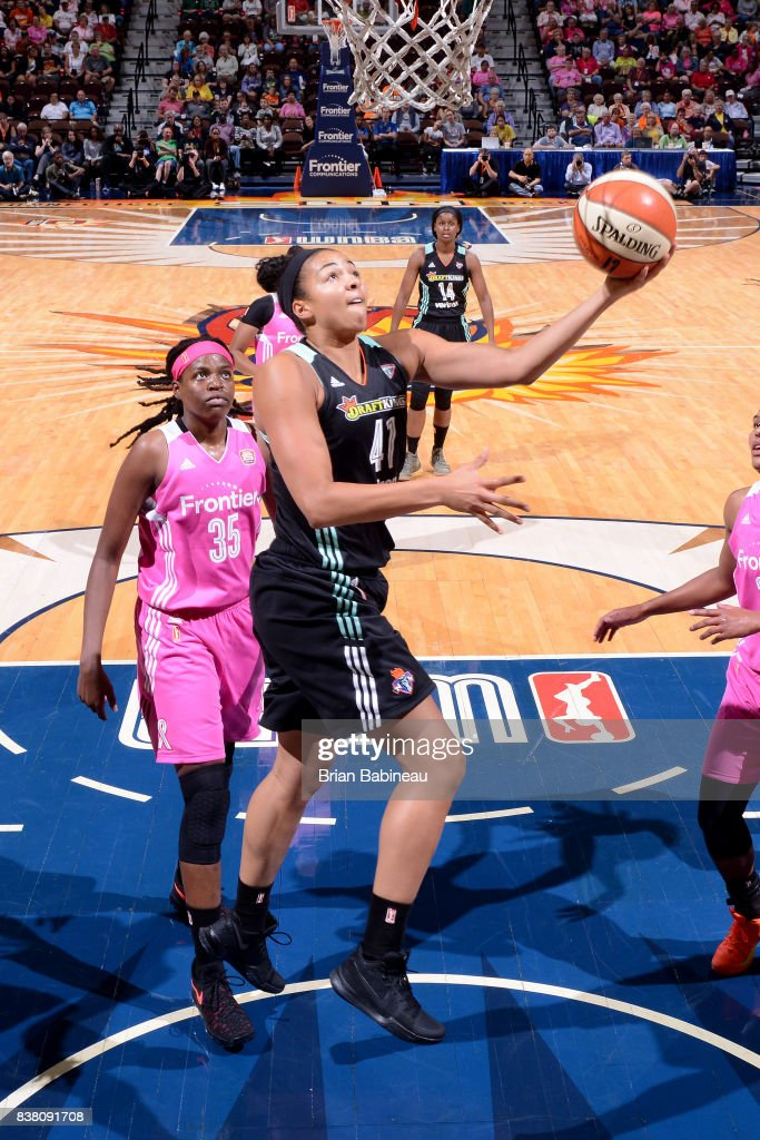 Kiah Stokes #41 of the New York Liberty shoots a lay up during the game against the Connecticut Sun on August 18, 2017 at the Mohegan Sun Arena in Uncasville, Connecticut.