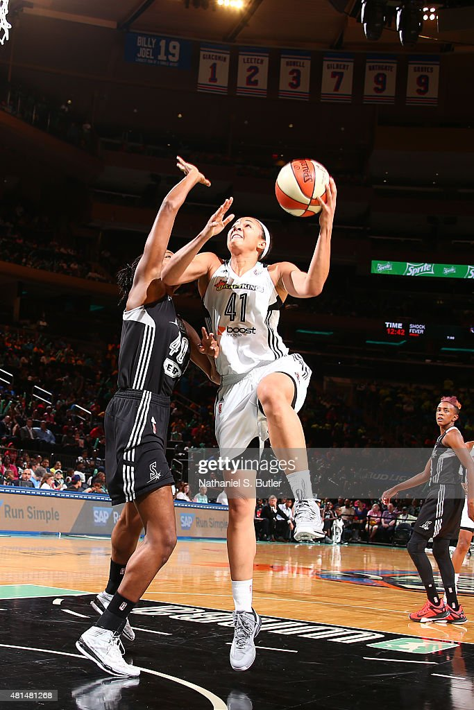 <a gi-track='captionPersonalityLinkClicked' href=/galleries/search?phrase=Kiah+Stokes&family=editorial&specificpeople=8615620 ng-click='$event.stopPropagation()'>Kiah Stokes</a> #41 of the New York Liberty shoots against the San Antonio Stars on July 15, 2015 at Madison Square Garden in New York City, NY.