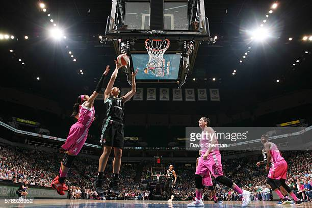 Kiah Stokes of the New York Liberty shoots the ball against the Minnesota Lynx on July 15 2016 at Target Center in Minneapolis Minnesota NOTE TO USER...