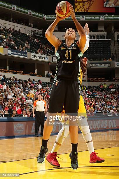Kiah Stokes of the New York Liberty shoots the ball against the Indiana Fever on June 19 2016 at Bankers Life Fieldhouse in Indianapolis Indiana NOTE...