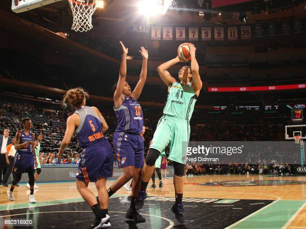 Kiah Stokes of the New York Liberty shoots the ball against the Phoenix Mercury on June 4 2017 at Madison Square Garden in New York New York NOTE TO...