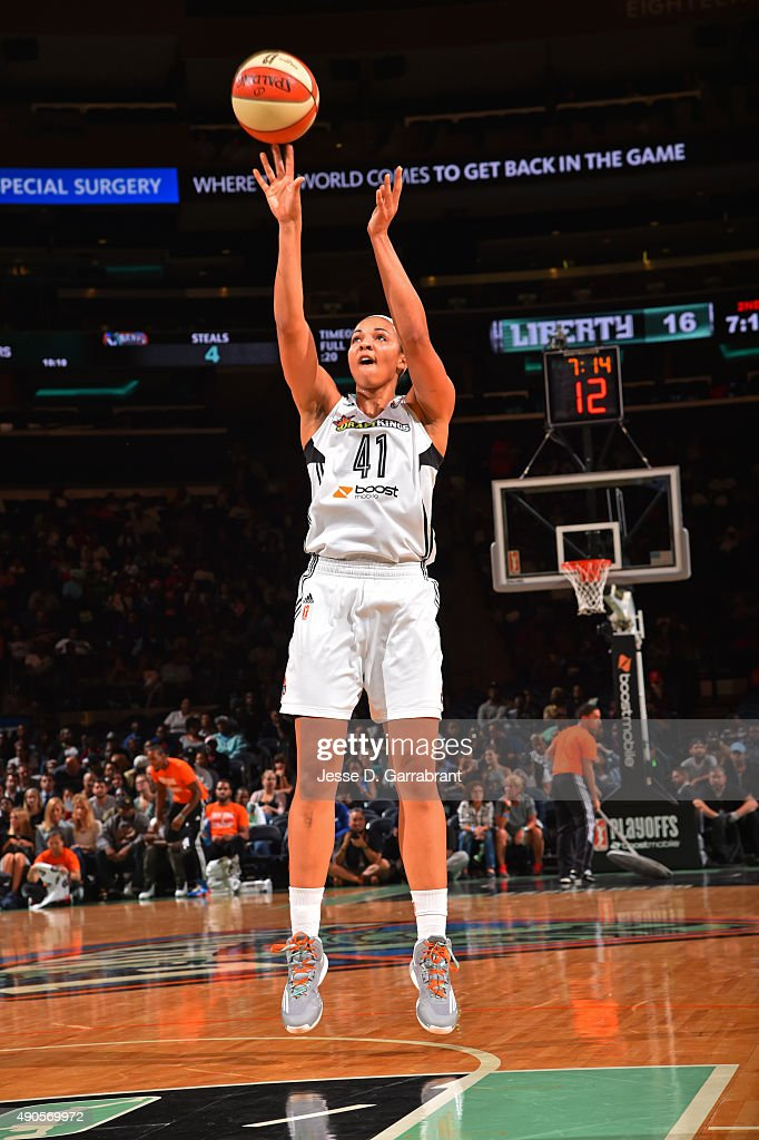 <a gi-track='captionPersonalityLinkClicked' href=/galleries/search?phrase=Kiah+Stokes&family=editorial&specificpeople=8615620 ng-click='$event.stopPropagation()'>Kiah Stokes</a> #41 of the New York Liberty shoots the ball against the Indiana Fever during game Three of the WNBA Eastern Conference Finals at Madison Square Garden on September 29, 2015 in New York, New York