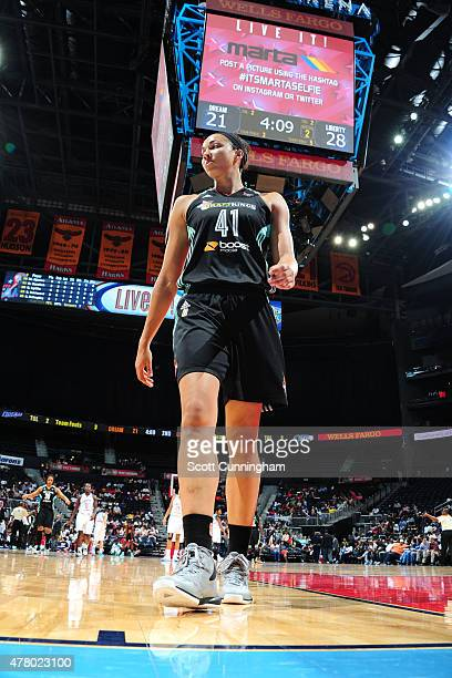 Kiah Stokes of the New York Liberty stands on the court during a game against the Atlanta Dream at Philips Center on June 21 2015 in Atlanta GA NOTE...