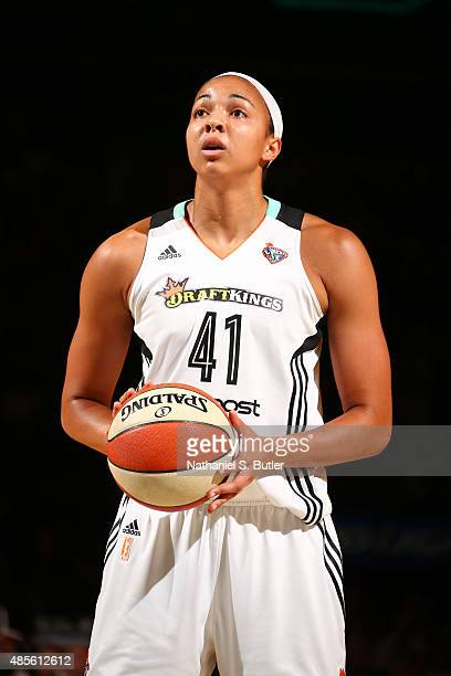 Kiah Stokes of the New York Liberty takes a foul shot during a game against the Minnesota Lynx on August 28 2015 at Madison Square Garden New York...
