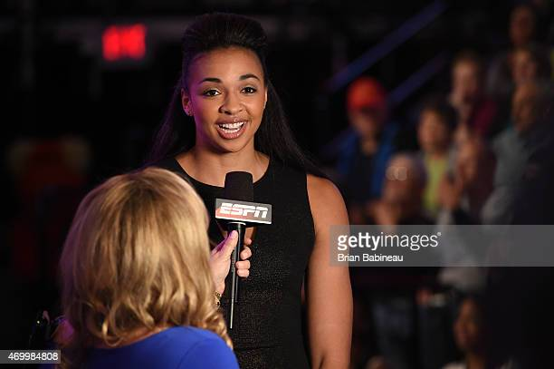 Kiah Stokes speaks with ESPN during the 2015 WNBA Draft Presented By State Farm on April 16 2015 at Mohegan Sun Arena in Uncasville Connecticut NOTE...