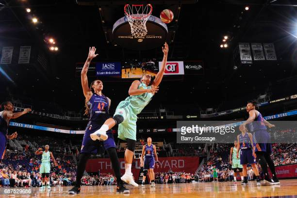 Kiah Stokes the New York Liberty grabs the rebound against the Phoenix Mercury on May 23 2017 at Talking Stick Resort Arena in Phoenix Arizona NOTE...
