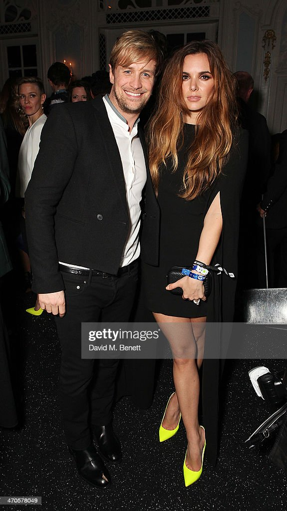 Kian Egan (L) and Jodi Albert is seen at Warner & Belvedere Post BRIT Awards party at The Savoy Hotel on February 19, 2014 in London, England.