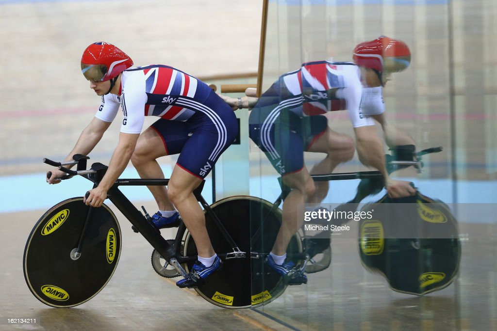 Kian Emadi of Great Britain during practise ahead of the UCI Track World Championships at Minsk Arena on February 19, 2013 in Minsk, Belarus.