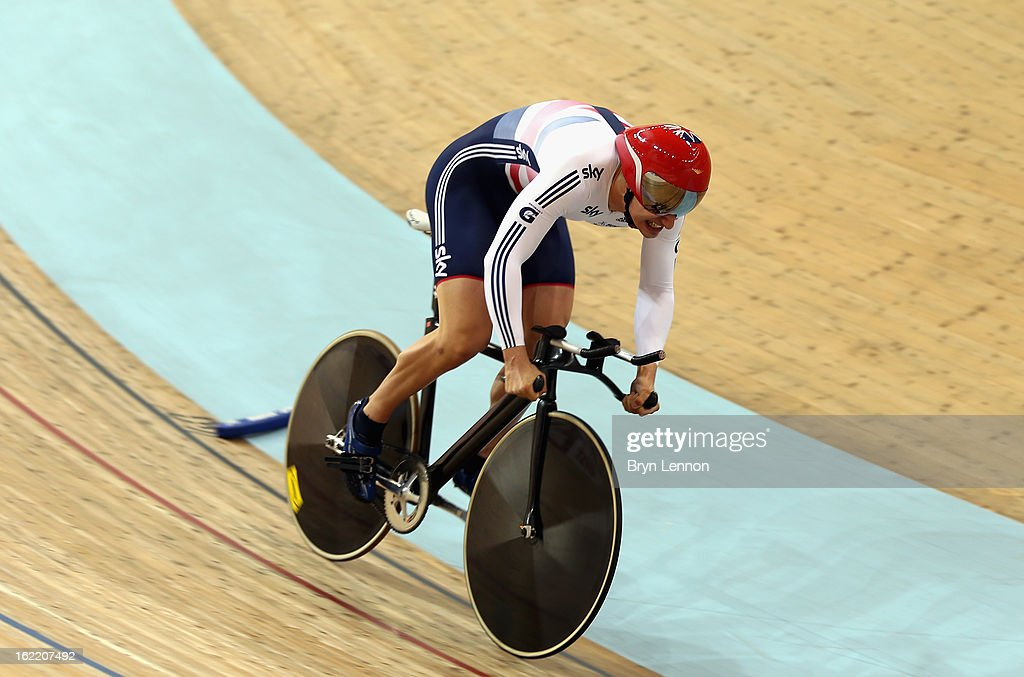 Kian Emadi-Coffin of Great Britain in action in the 1km Time Trial during day one of the UCI Track World Championships at the Minsk Arena on February 20, 2013 in Minsk, Belarus.