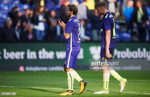Kian Hansen of FC Midtjylland and Alexander Sorloth of FC Midtjylland looks dejected after the Danish Alka Superliga match between Brondby IF and FC...