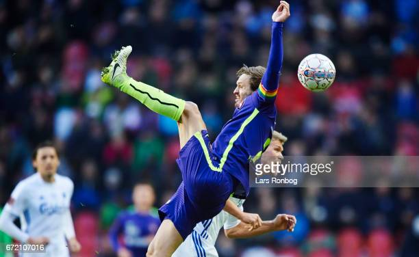 Kian Hansen of FC Midtjylland and Andreas Cornelius of FC Copenhagen compete for the ball during the Danish Alka Superliga match between FC...