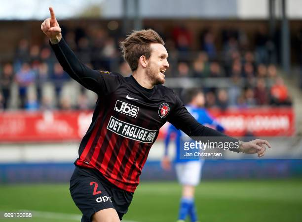 Kian Hansen of FC Midtjylland celebrate after his 01 goal during the Danish Alka Superliga match between Lyngby BK and FC Midtjylland at Lyngby...