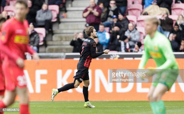 Kian Hansen of FC Midtjylland celebrates after scoring their first goal during the Danish Alka Superliga match between FC Midtjylland and FC...