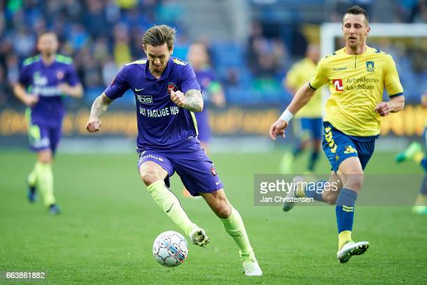 Kian Hansen of FC Midtjylland controls the ball during the Danish Alka Superliga match between Brondby IF and FC Midtjylland at Brondby Stadion on...