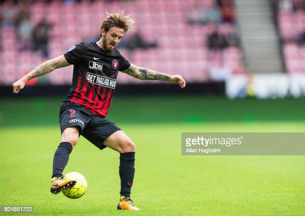 Kian Hansen of FC Midtjylland controls the ball during the Danish Alka Superliga match between FC Midtjylland and Randers FC at MCH Arena on July 30...