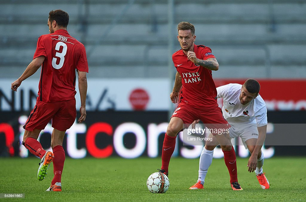Kian Hansen of FC Midtjylland controls the ball during the Europa League Qualifier match between FC Midtjylland and FK Suduva at MCH Arena on June 30, 2016 in Herning, Denmark.