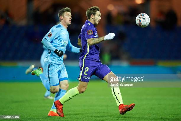 Kian Hansen of FC Midtjylland in action during the Danish Alka Superliga match between Randers FC and FC Midtjylland at BioNutria Park Randers on...