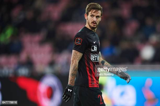 Kian Hansen of FC Midtjylland looks on during the Danish Alka Superliga match between FC Midtjylland and Lyngby BK at MCH Arena on March 3 2017 in...