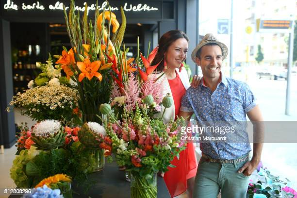 Kian ShamsDolatabadi and business partner Anne Steiner attend the 'Kians Garden Flower Shop' Opening Event at Kantstrasse on July 11 2017 in Berlin...