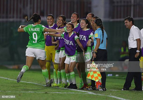 Kiana Palacios of Mexico celebrates scoring her 2nd goal during the FIFA U20 Women's World Cup Group D match between Venezuela and Mexico at Bava...