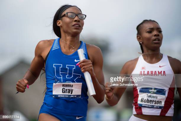 Kianna Gray of the University of Kentucky races to the finish line in the 4x100 meter relay during the Division I Women's Outdoor Track Field...