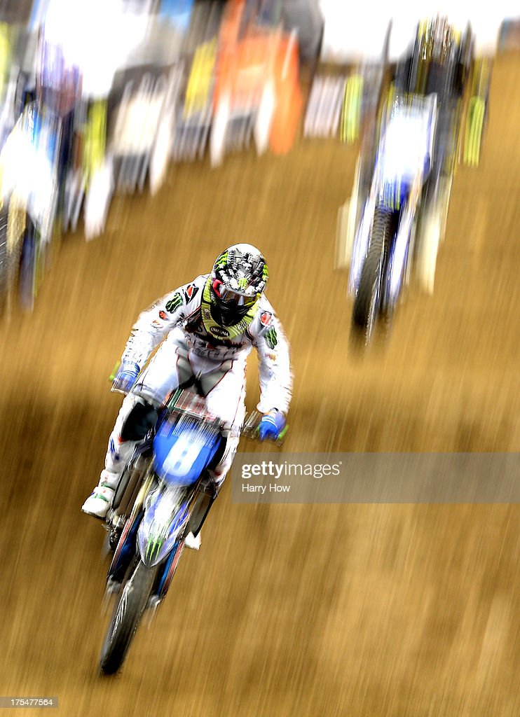 Kiara Fontanesi of Italy races to a bronze in the Women's Moto X Racing Final during X Games Los Angeles at Staples Center on August 3, 2013 in Los Angeles, California.