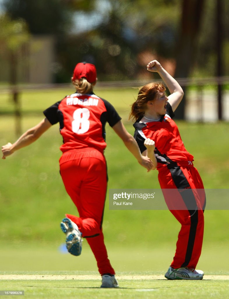 Kiara Stockley of the Scorpions celebrates a wicket during the WNCL match between the Western Australia Fury and the South Australia Scorpions at Christ Church Grammar Playing Fields on December 8, 2012 in Perth, Australia.