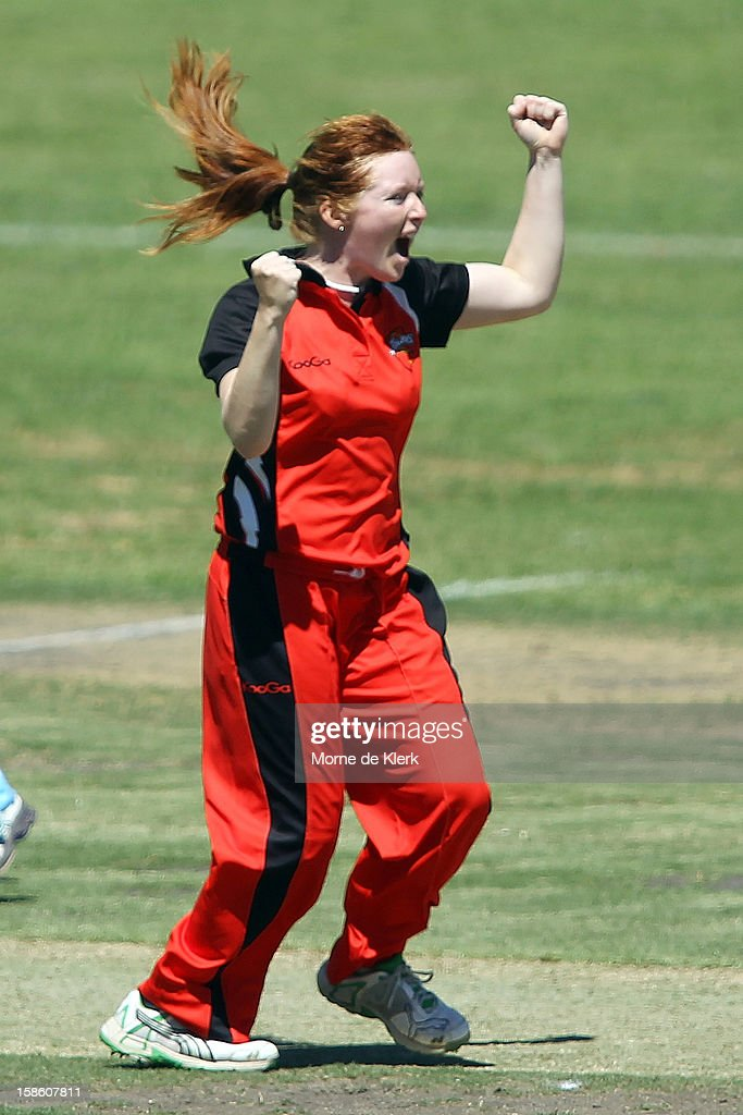 Kiara Stockley of the Scorpions celebrates after getting the wicket of Leah Poulton of the Breakers during the women's Twenty20 match between the South Australia Scorpions and the New South Wales Breakers at Prospect Oval on December 21, 2012 in Adelaide, Australia.