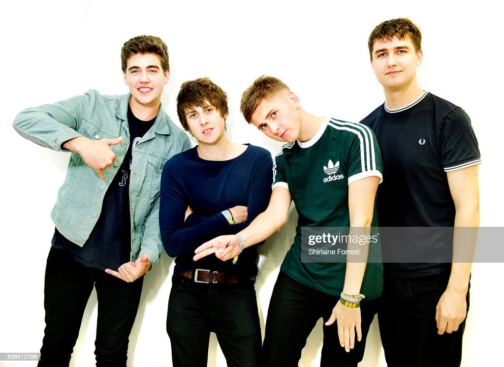 Kiaran Crook, Brandon Crook, Josh Davidson and Andy Davidson of The Sherlocks pose backstage after performing live and signing copies of their debut album 'Live for the Moment' during an instore session at HMV Manchester on August 21, 2017 in Manchester, England.