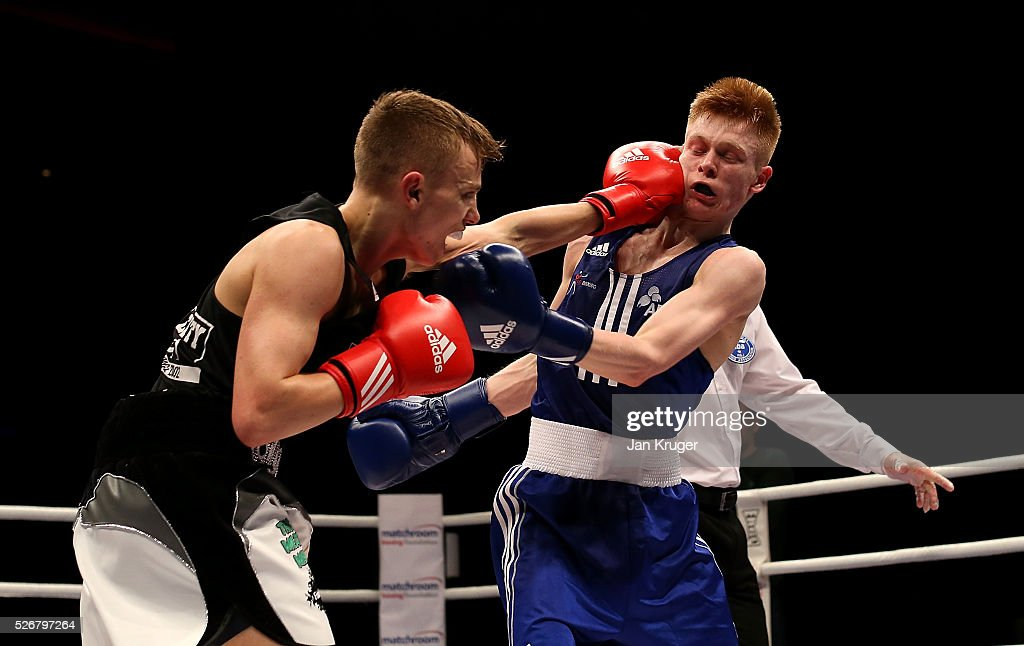Kiaran Macdonald (blue gloves) in action against Sunny Edwards in their 49kg final bout during day three of the Boxing Elite National Championships at Echo Arena on May 01, 2016 in Liverpool, England.