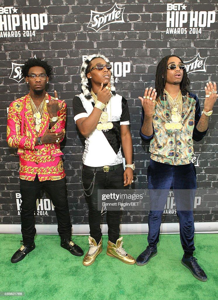 "Kiari ""Offset"" Cephus Kirshnik 'Takeoff' Ball and Quavious ""Quavo"" Marshall of Migos attend the BET Hip Hop Awards 2014 presented by Sprite at..."