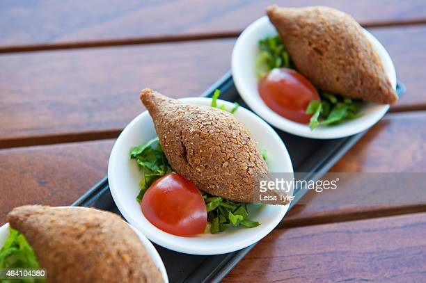 Kibbeh minced lamb with bulghur at Amwaj restaurant at the Anantara Desert Islands on Sir Bani Yas an island in the Persian Gulf and once the private...