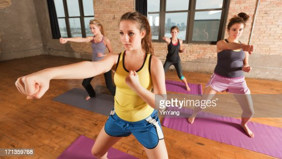 Kick Boxing Martial Arts Exercise Woman Sport Group Workout Training