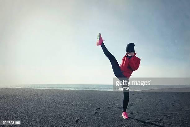 kick boxing on the beach