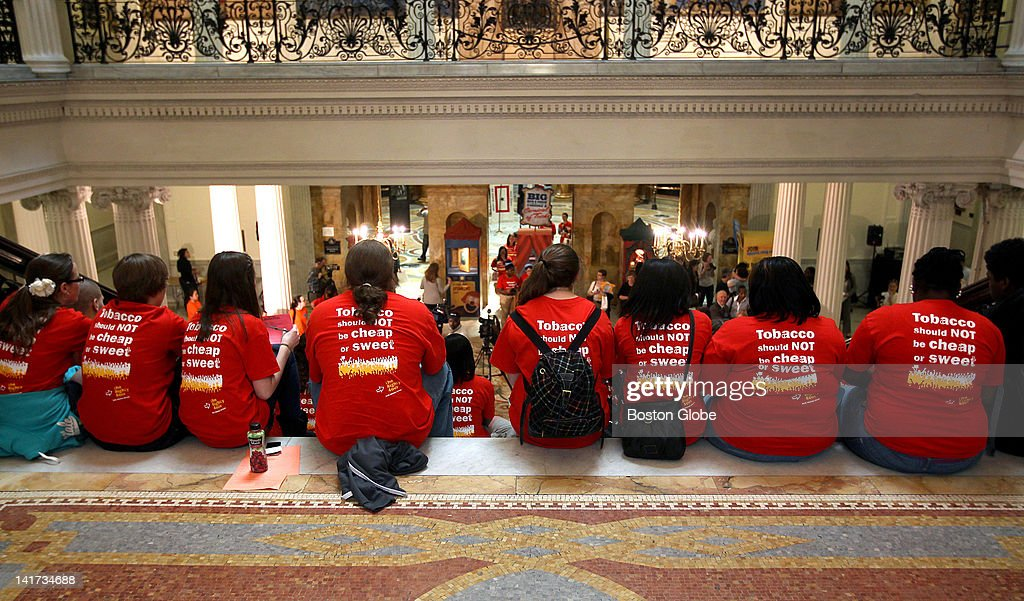 'Kick Butts Day' youth antismoking rally at State House with Surgeon General Regina Benjamin on the Grand Staircase in the State House.