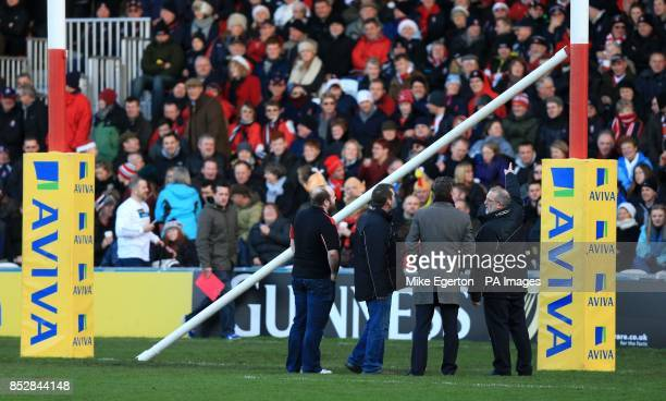 Kick off is delayed after an inflatable rugby ball knocks down the crossbar for the posts before the Aviva Premiership match at the Kingsholm Stadium...