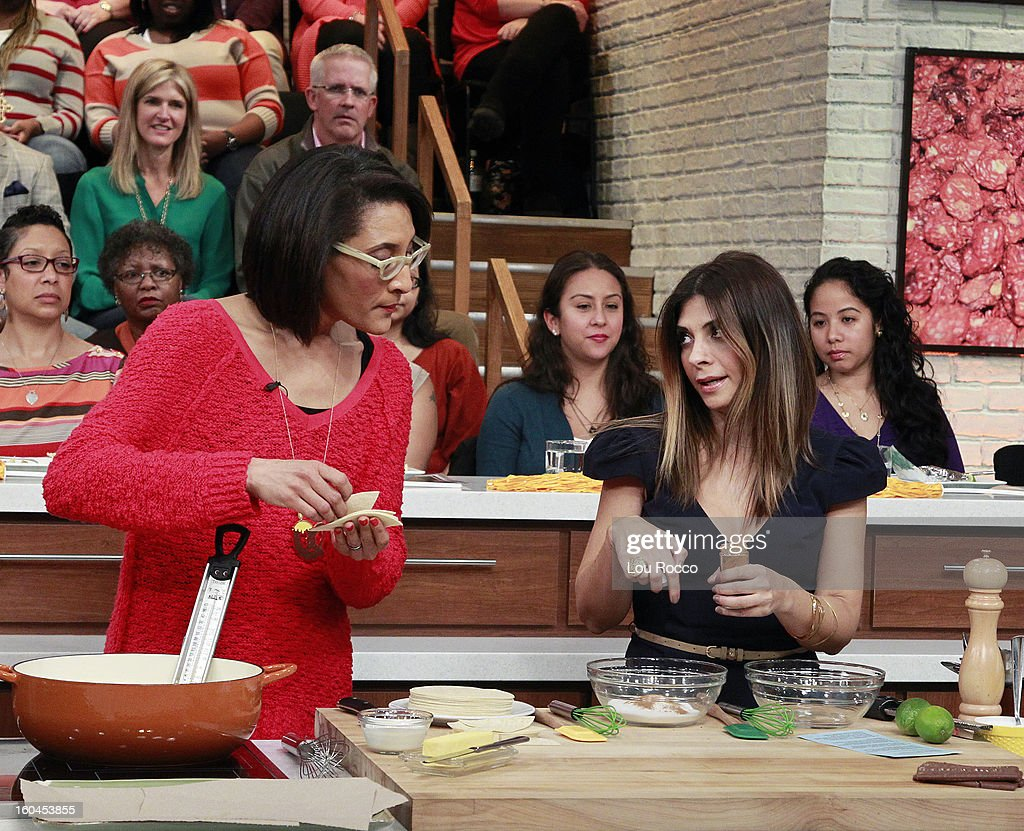 THE CHEW - Kick off the big game with a Pre-Game Tailgate Party at The Chew today, January 31, 2013. Shown here, Carla cooks with actress, Callie Thorne. 'The Chew.' 'The Chew' airs MONDAY - FRIDAY (1-2pm, ET) on the ABC Television Network. THORNE