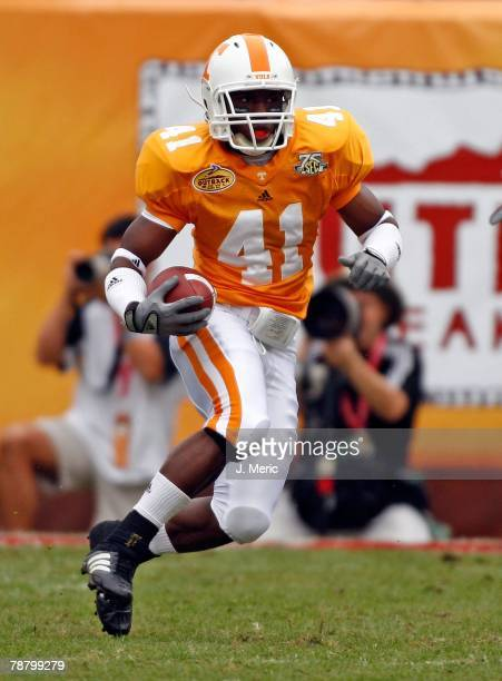 Kick returner Dennis Rogan of the Tennessee Volunteers looks to return this kick against the Wisconsin Badgers during the game on January 1 2008 at...