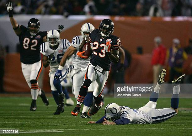 Kick returner Devin Hester of the Chicago Bears returns the opening kickoff 92yards for a touchdown past a diving Adam Vinatieri of the Indianapolis...