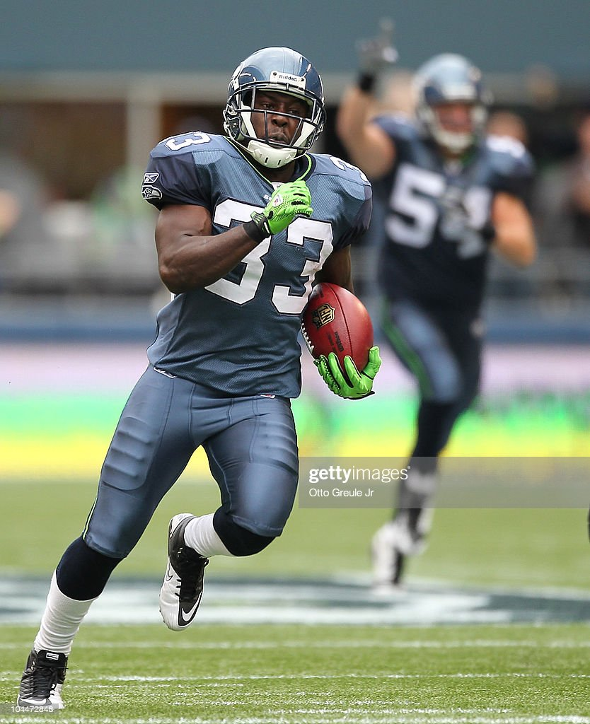 Kick returner Leon Washington of the Seattle Seahawks returns a kickoff for a 101 yard touchdown in the third quarter against the San Diego Chargers...
