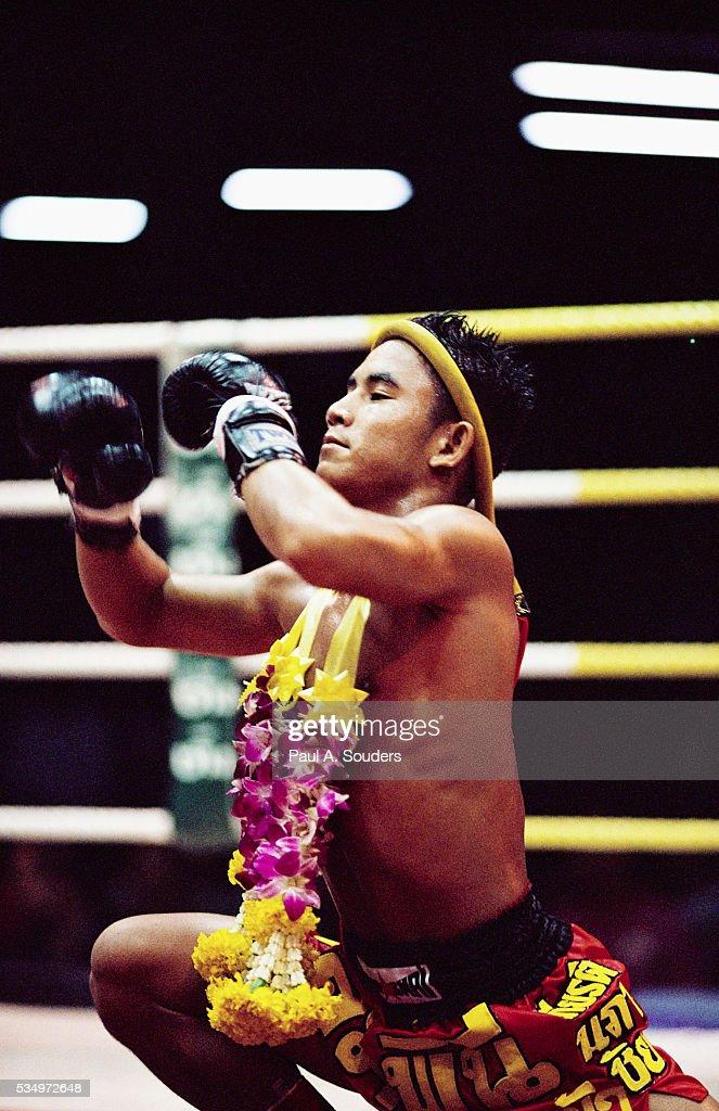 Kickboxer Preparing for Match
