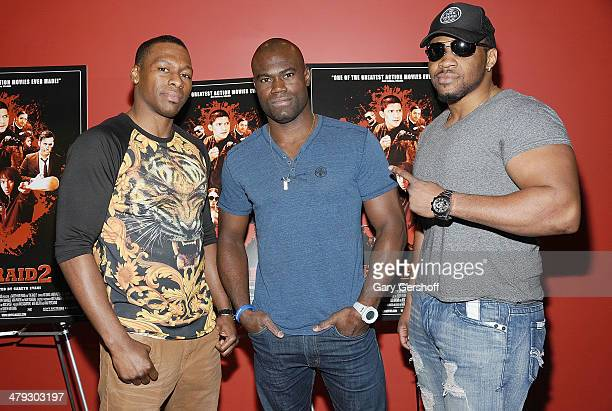 Kickboxer Wayne Barrett mixed martial artist Uriah Hall and professional boxer Jarrell 'Big Baby' Miller attend 'The Raid 2' special screening at...