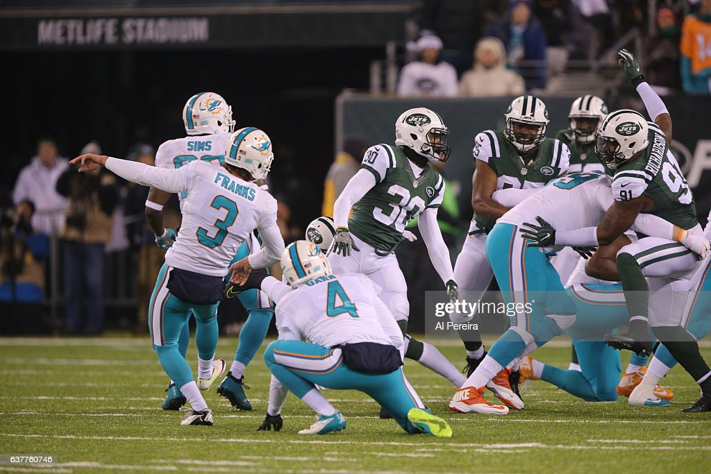 5217eca99 Miami Dolphins 3 Andrew Franks White Elite Jersey Kicker Andrew Franks 3 of  the Miami Dolphins kicks an extra point against the New ...
