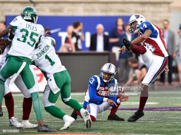 Kicker Boris Bede of the Montreal Alouettes kicks the ball against the Saskatchewan Roughriders during the CFL game at Percival Molson Stadium on...