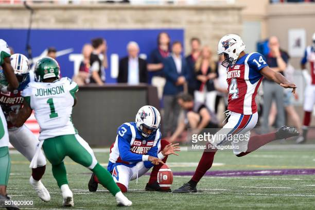 Kicker Boris Bede of the Montreal Alouettes prepares to kick the ball against the Saskatchewan Roughriders during the CFL game at Percival Molson...