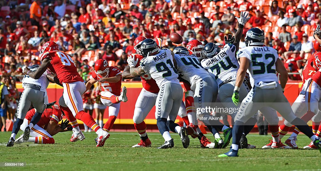 Kicker Cairo Santos #5 of the Kansas City Chiefs kicks a 58-yard field goal against the Seattle Seahawks during the second half on August 13, 2016 at Arrowhead Stadium in Kansas City, Missouri.
