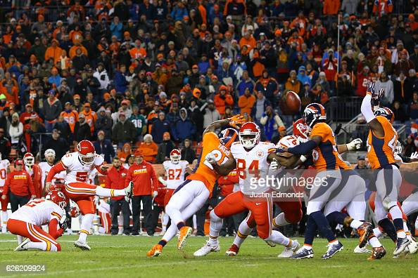 Kicker Cairo Santos of the Kansas City Chiefs makes a gamewinning field goal in overtime against the Denver Broncos at Sports Authority Field at Mile...
