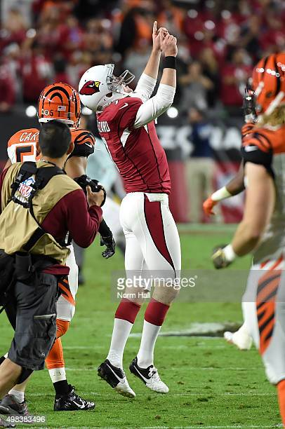 Kicker Chandler Catanzaro of the Arizona Cardinals celebrates his game winning field goal at the end of the NFL game against the Cincinnati Bengals...